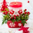 Christmas table decoration with candle — Stock Photo #52878983