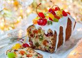 Christmas fruitcake — Stock Photo