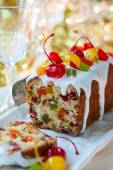 Christmas fruitcake — Stock Photo