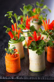 Zucchini and Carrot Roll-Ups — Stock Photo