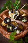 Eggplant rolls with pesto — Stock Photo