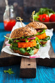 Veggie carrot  burger with avocado — Stock Photo