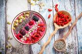 Breakfast berry smoothie bowl — Stock Photo