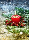 Jedle větve, svíčka a bobule — Stock fotografie
