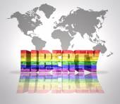 Word Liberty with Rainbow Gay Flag — Stock Photo