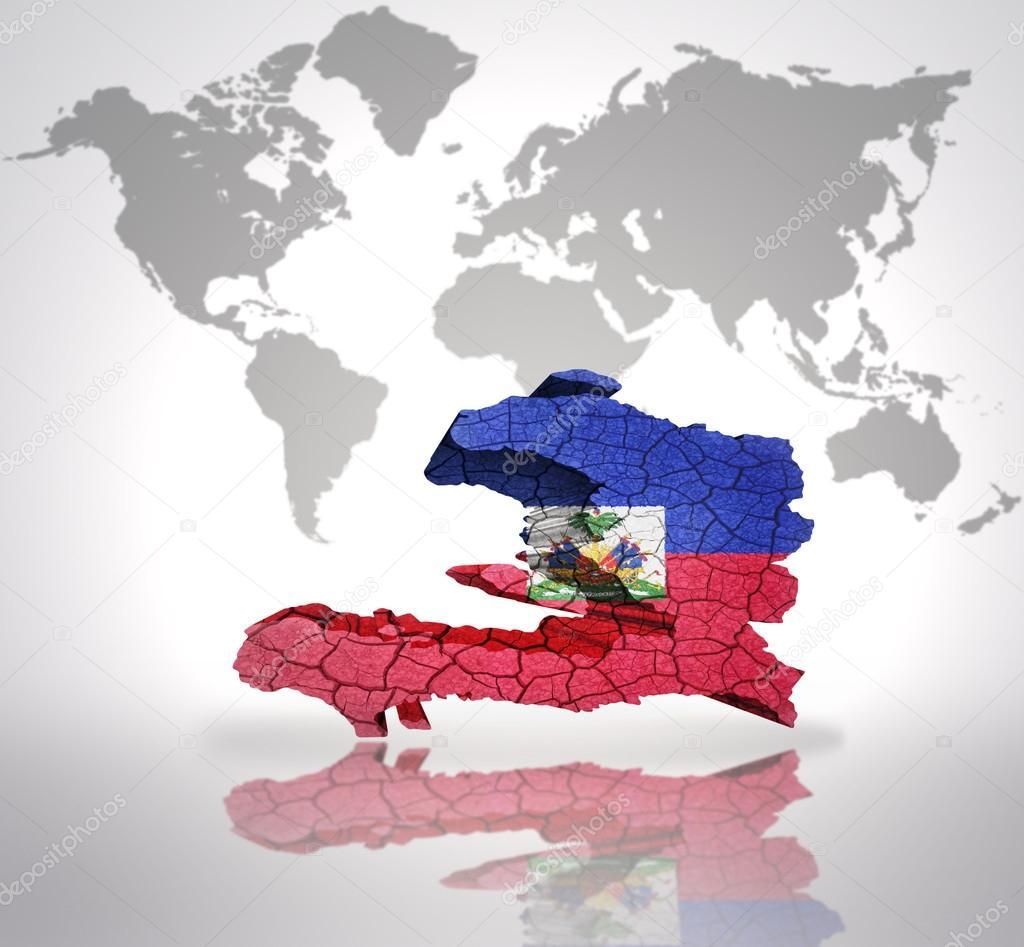 世界地图背景上的海地海地国旗与地图– 图库图片