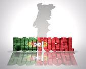 Palavra Portugal sobre um fundo de mapa — Fotografia Stock