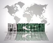 Word Pakistan on a world map background — Stock Photo