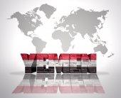 Word Yemen on a world map background — Stock Photo