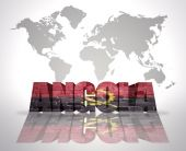 Word Angola on a world map background — 图库照片