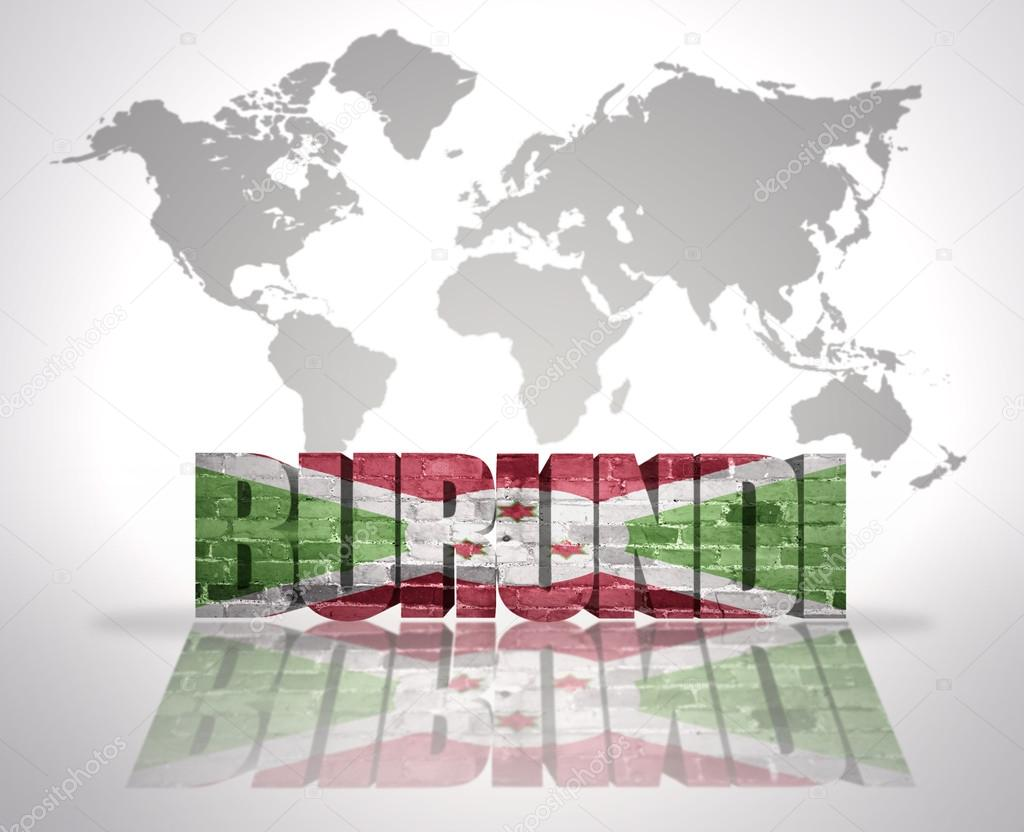 世界地图背景上字布隆迪布隆迪国旗– 图库图片