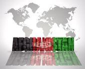 Word-Afghanistan auf einem Hintergrund des Welt-Karte — Stockfoto