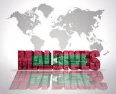 Ordet Maldiverna på världen karta bakgrund — Stockfoto