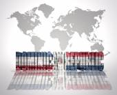 Word Dominican Republic on a world map background — Stock Photo