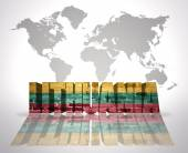 Word Lithuania on a world map background — Stock Photo
