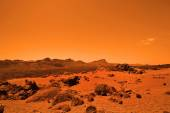 Deserted terrestial planet in orange colors — Stock Photo