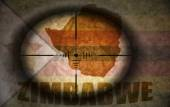 Sniper scope aimed at the vintage zimbabwean flag and map — Stock Photo