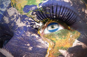 Womans face with planet Earth texture and nicaraguan flag inside the eye — Stockfoto