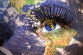 Woman's face with planet Earth texture and bosnian flag inside the eye.  — Stock Photo