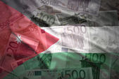 Colorful waving jordan flag on a euro money background — Stock Photo