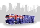 Text Sydney with national flag of australia — Fotografia Stock