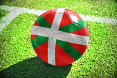 Football ball with the national flag of basque country on the field — Stock Photo
