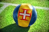 Football ball with the national flag of madeira on the field — Stock Photo