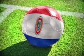 Футбольный мяч с национальным флагом Парагвая на поле — Стоковое фото