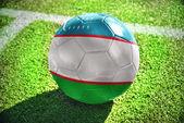 ウズベキスタンの国旗とサッカー ボール — ストック写真