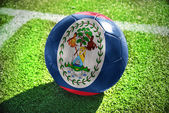 Football ball with the national flag of belize — Stock Photo