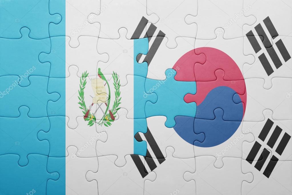 Rompecabezas Con La Bandera Nacional De Guatemala Y Corea