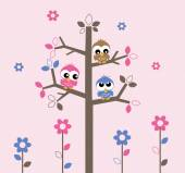 Three sweet owls in a tree — 图库矢量图片