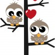Two sweet owls in love — Stock Vector #54564105