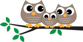 A sweet little owl family — Stock Vector