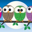 Colorful owls sitting on a branch — Stock Vector #66882059