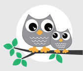 Two sweet grey owls sitting on a branch — Stock Vector