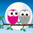 Two sweet owls sitting on a branch — Stock Vector #67482993