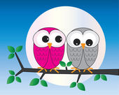 Two sweet owls sitting on a branch — Stock Vector