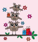 Happy birthday greeting owls — Stock Vector