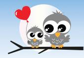 Two cute grey owls love — Stock Vector