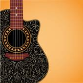 Background with clipped guitar and stylish ornament — Cтоковый вектор