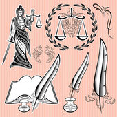 Set of design elements for law — Stock Vector