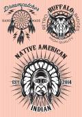 Vector set of emblems on theme of native American — Stock Vector