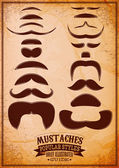 Set of different male mustache on grungy background — Stock Vector