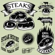 Set template for grilling, barbecue, steak house, menu — Stock Vector #57262749