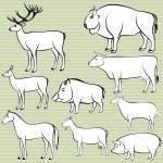 Set of monochrome wild and domestic animals — Stock Photo #58103981