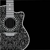 Background with clipped guitar and stylish ornament — Stock Vector