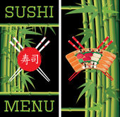 Template for sushi menu with bamboo on black background — Stock Vector