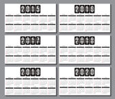 Calendar grid 2015, 2016... 2020  for business card — Stock Vector