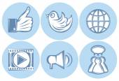 Icons for social networking, internet, twitter, Like, file sharing — Stock Vector